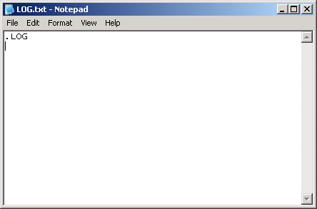 "Windows Notepad, with "".LOG"" entered on the first line"