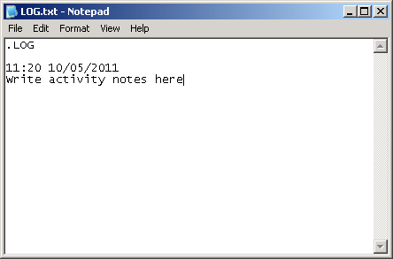 Notepad showing a new line with the current date and time